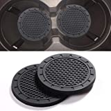 Sanpanie 2 PCS 2.75 Inch Soft Rubber Pad Set Round Auto Cup Holder Insert Drink Coaster Compatible for fit for Any Vehicle