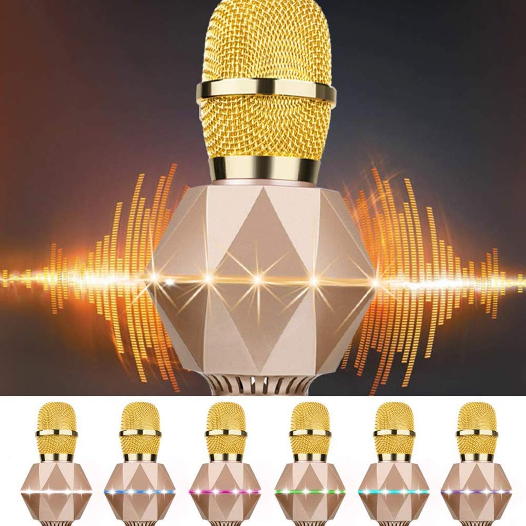 Rsiosle Wireless Bluetooth Karaoke Microphone for Kids Karaoke Machine with Speaker, LED Light, Magic Voice, Compatible with Android iOS PC for Home KTV Kids Outdoor Birthday Party (Color : Gold) by Rsiosle (Image #5)