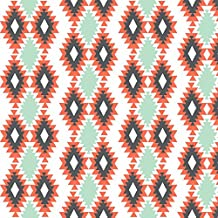 Southwestern Fabric Southwestern Aztec - Mint, Coral, Charcoal by Modfox Printed on Modern Jersey Fabric by the Yard by Spoonflower
