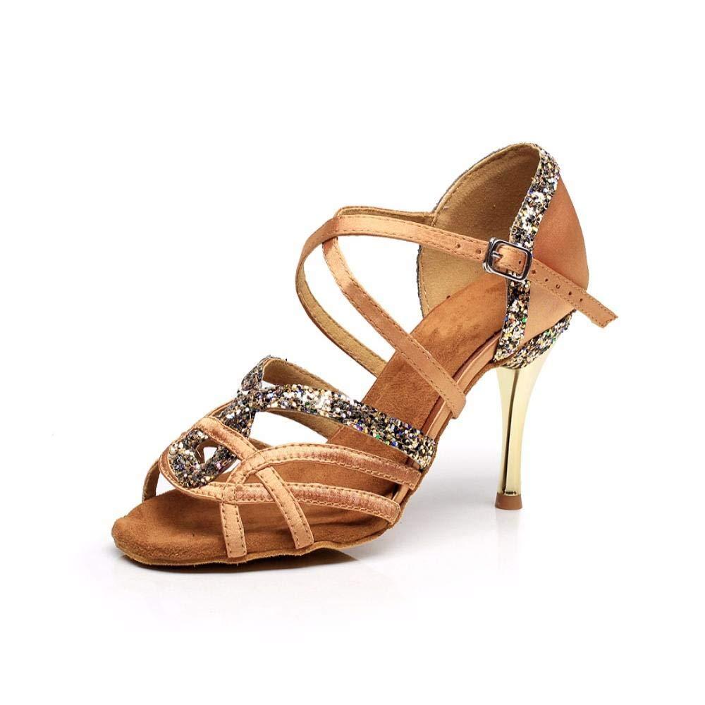 Souliers de Danse Latine pour Femmes en Daim Semelle Femelle Kizomba Bachata Samba Chaussures de Danse de Salsa Sociale Talon Haut 8.5cm VA30
