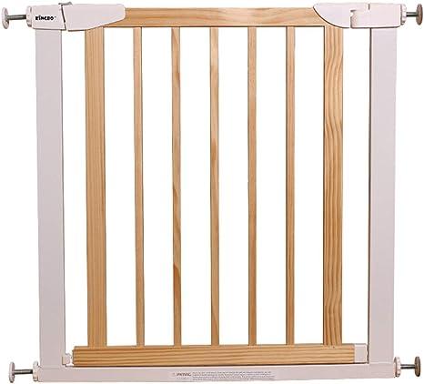 Puerta de la escalera, puerta de seguridad para niños bebés, valla de madera maciza para la