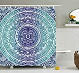 Ambesonne Navy and Teal Shower Curtain, Ombre Mandala Old Ethnic Art with Mehndi Style Effects Kitsch Boho Print, Fabric Bathroom Decor Set with Hooks, 84 inches Extra Long, Dark Blue White