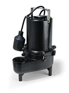 ECO-FLO Products ESE50W Cast Iron Sewage Pump with Wide Angle Switch, 1/2 HP, 7,800 GPH