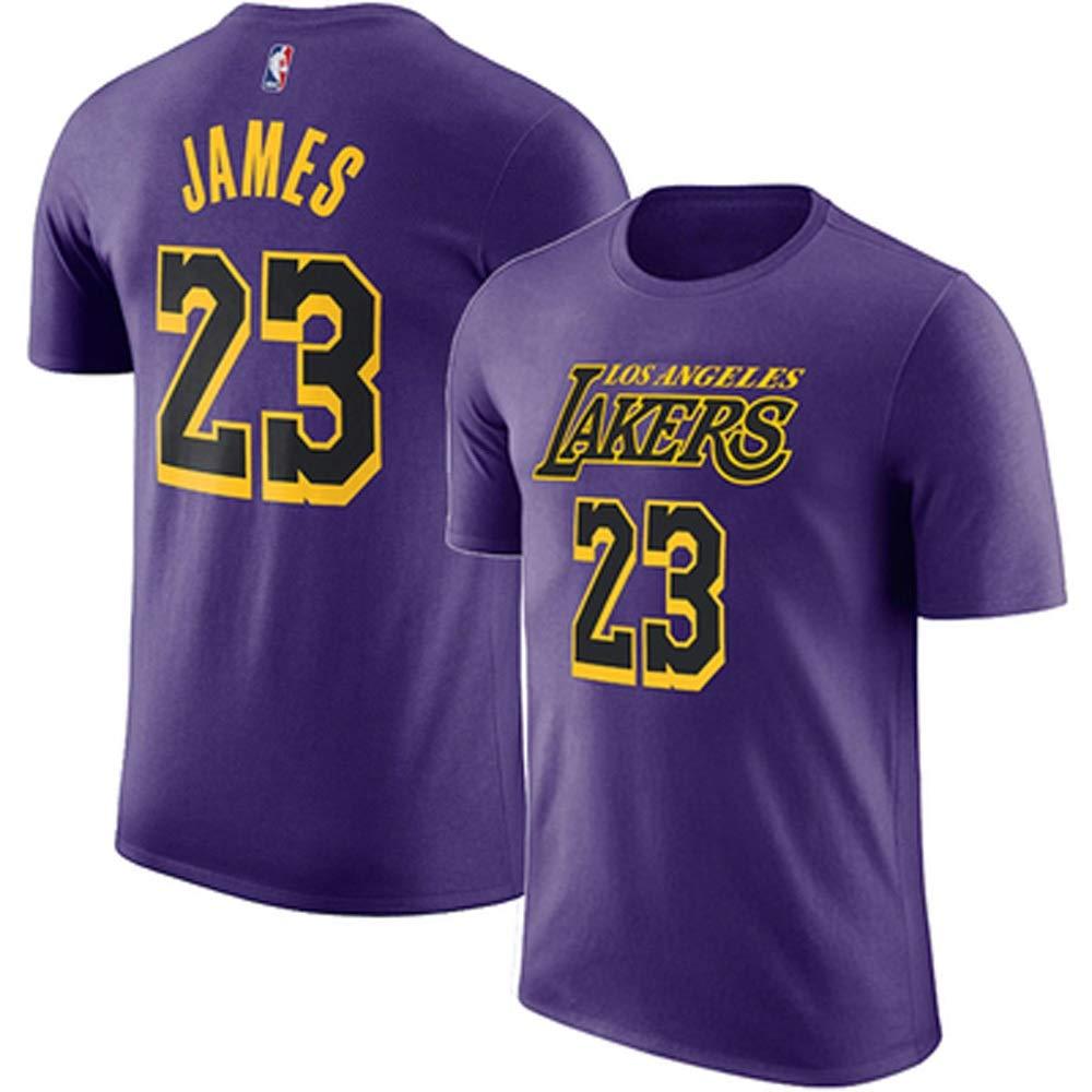 Gflyme Ldwxxx Maglia da Uomo T-Shirt Sportiva in Cotone Girocollo Sciolto a Maniche Corte for Studenti Lakers Kobe Maglie Color : Purple23, Size : XXXL
