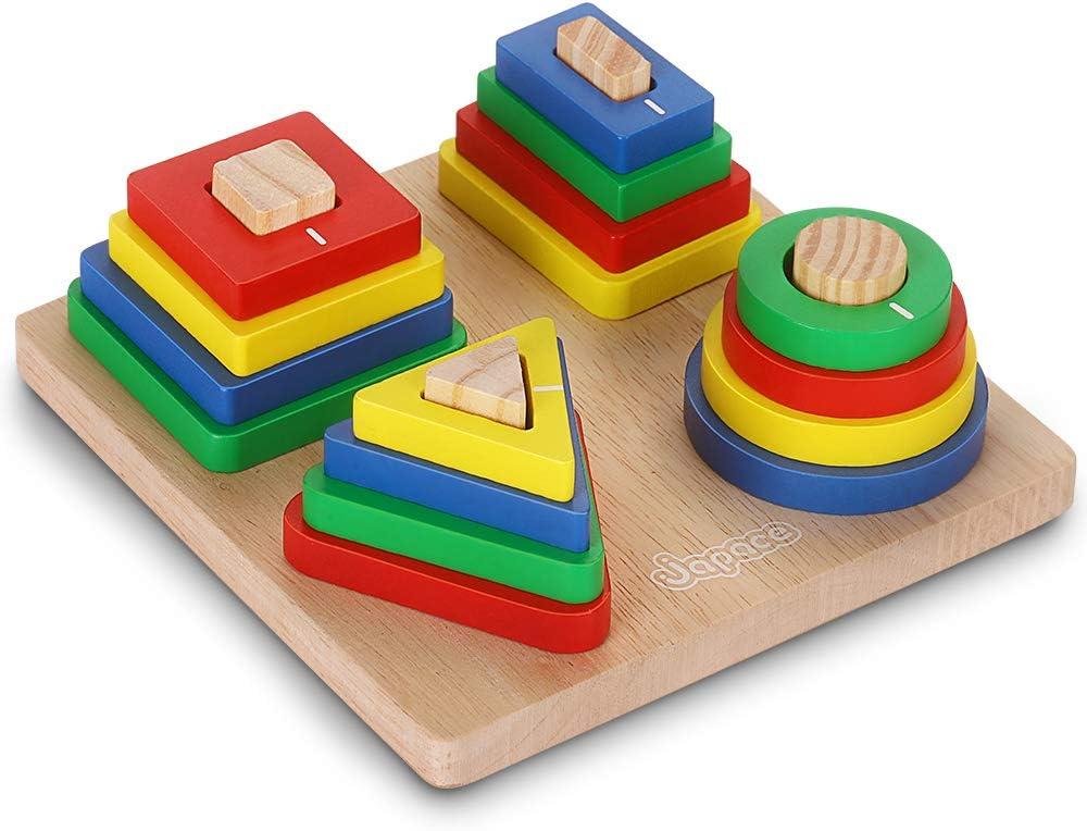 Ponangaga Juguetes Educativos del para niños de geométricas Tablero Madera Formas Grueso Bloques Tablero apilar y clasificar Cumpleaños para Niños Niñas Bebés 2 3 4+ Años