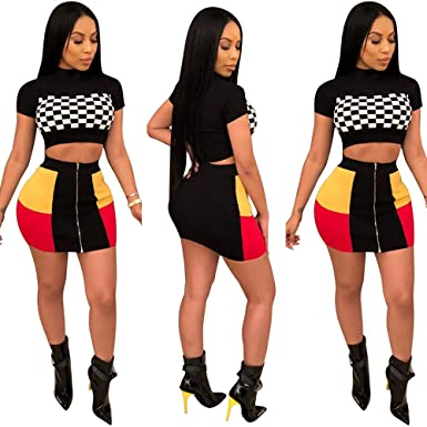 6914fff3718 Women Two Piece Outfit - Plaid Dress Suit Short Sleeve Crop Top Skirt Set  Party Clubwear