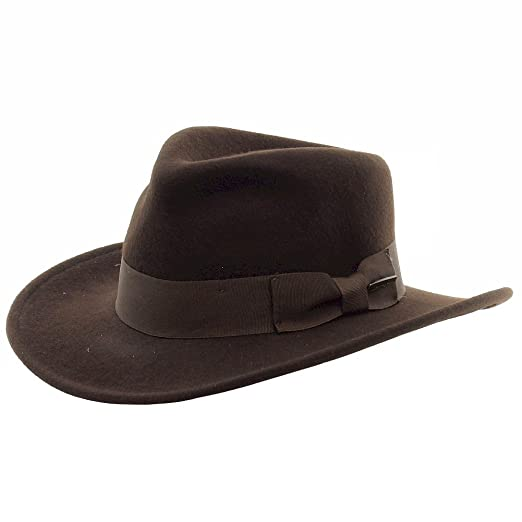 Dorfman Pacific Men s Indiana Jones Wool Felt Water Repellent Outback Fedora  with Grosgrain 642aa0d61b42