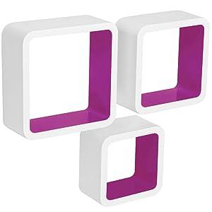 WOLTU RG9236la Mensole da Muro Mensola a Cubo Scaffale Parete Decorazione per Cameretta Salotto Legno MDF Moderno 3 Pezzi Diametri Diversi Viola-Bianco