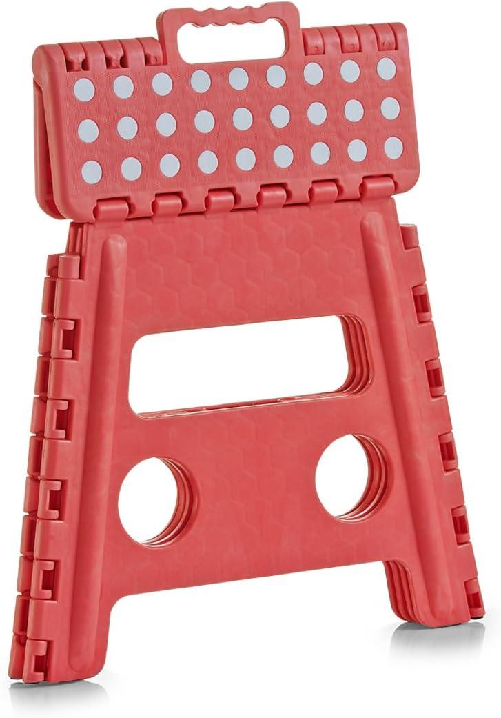 Sgabello pieghevole in plastica 32 x 25 x 22 cm Zeller 99160 colore: Rosso//Bianco