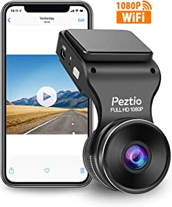 Peztio Dash Cam WiFi, FHD 1080P Dash Camera for Cars, Car Dash Camera Recorder, G-Sensor, 170 Wide Angle, Loop Recording, Parking Monitor, WDR, Night Vision, Motion Detection