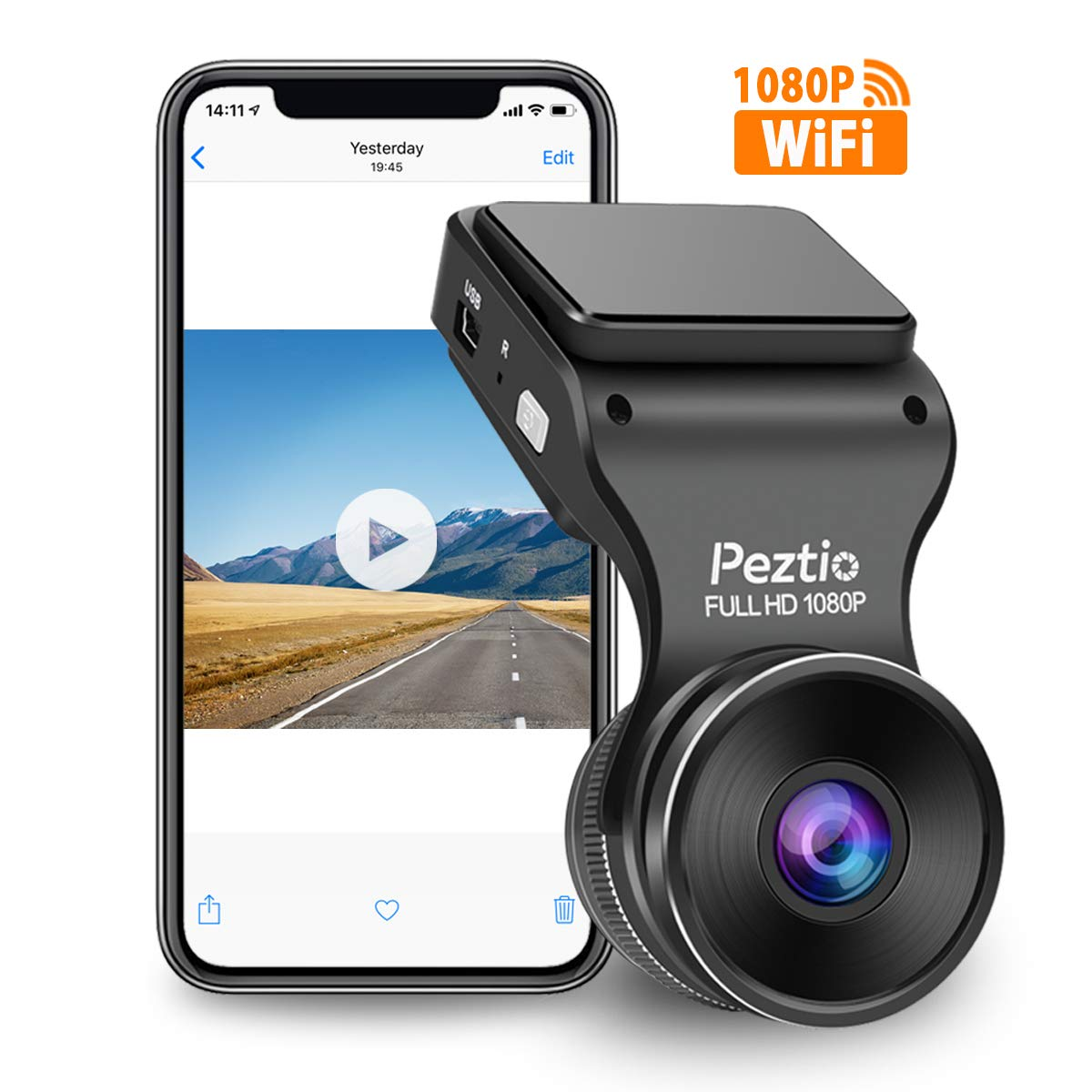 Peztio Dash Cam WiFi, FHD 1080P Dash Camera for Cars, Car Dash Camera Recorder, G-Sensor, 170 Wide Angle, Loop Recording, Parking Monitor, WDR, Night Vision, Motion Detection by Peztio