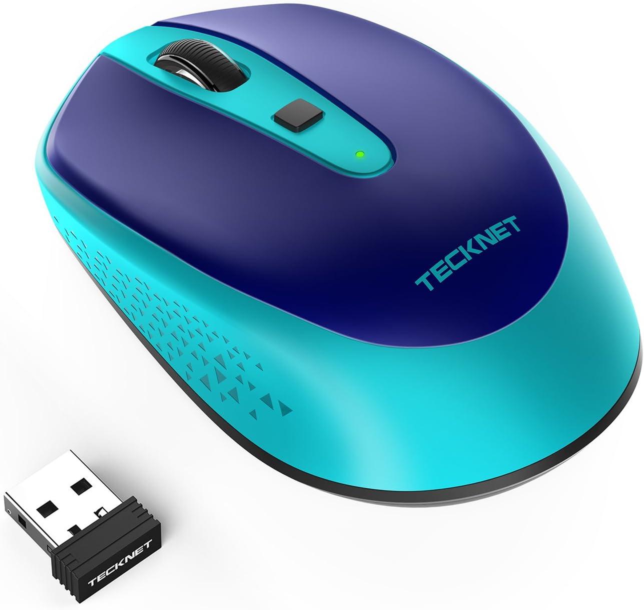 TECKNET Mini Ratón Inalámbrico Wireless Mouse Óptico, Omni 2.4G Ratón Portátil con Receptor USB Nano, 2000 dpi, 4 Botones, 3 dpi Ajustables, para Laptop, PC, Ordenador, Chromebook, Notebook, Azul