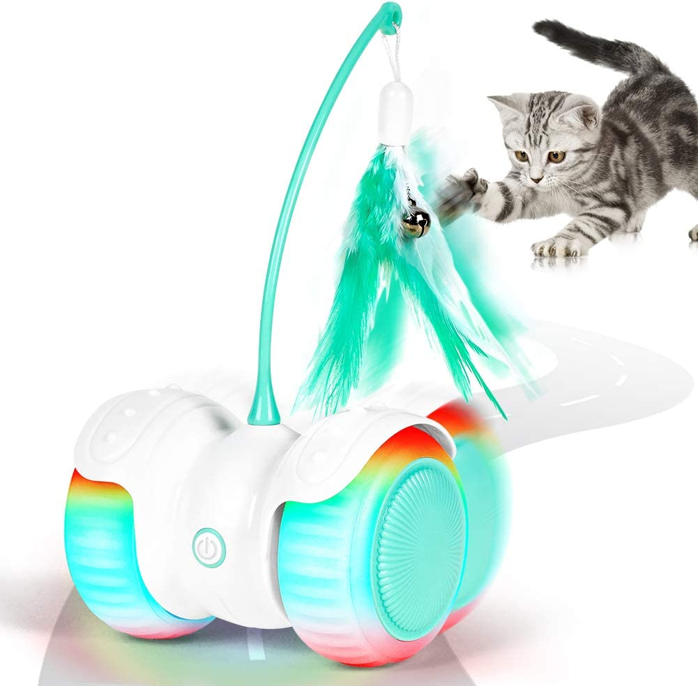 HAUEA Interactive Robotic Cat Toys Remote Control, Automatic Feather/Ball Teaser Toys for Kitten/Cats with Build-in Spinning Led Light Large Capacity Battery, All Floors/Carpet Available : Pet Supplies
