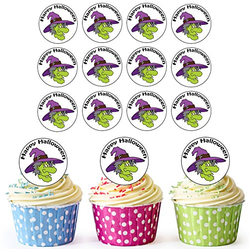 AKGifts PRE-CUT 24 Circles Halloween Witch Edible Cupcake Toppers / Halloween Cake Decorations - Easy Precut Circles (7 - 10 BUSINESS DAYS DELIVERY FROM (Witch Face Paint And Makeup Ideas Halloween)