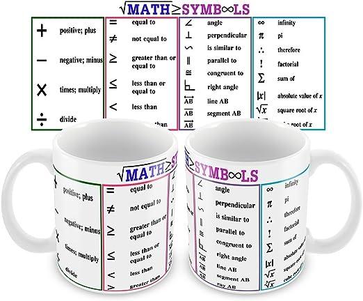 Matemáticas Símbolos única novedad taza para profesor, profesor ...