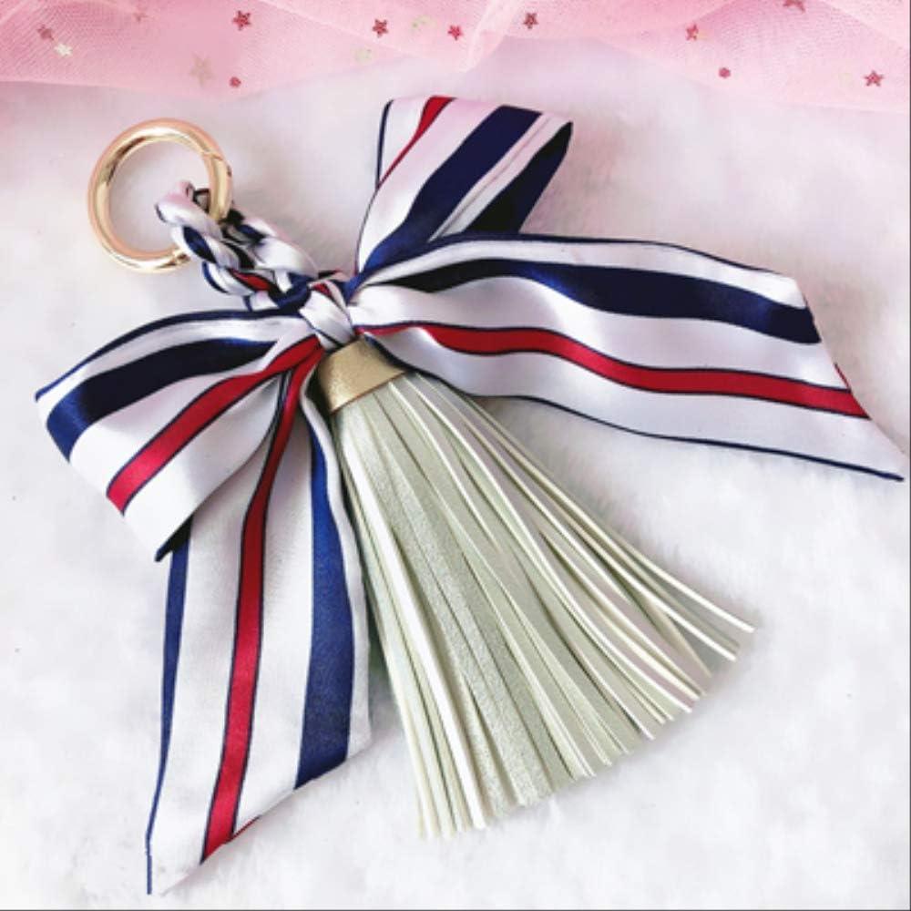 MEIHEK Llavero Bufandas de Moda Key Holder Bowknot Exquisita Decoración PU Cuero Borlas Llaveros Bolso de Las Mujeres Encanto Colgante