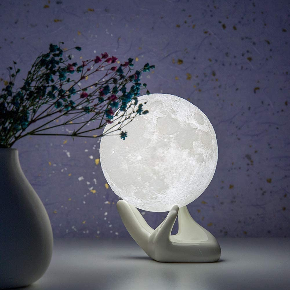 BRIGHTWORLD Moon Lamp, 3.5 inch 3D Printing Lunar Lamp Night Light with White Hand Stand as Kids Women Girls Gift, USB Charging Touch Control Brightness Two Tone Warm Cool White