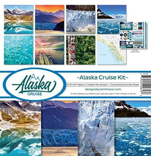 Reminisce ALC-200 Alaska Cruise Scrapbook Collection Kit, Multi Color Palette