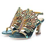 Wawoo Gorgeous Rhinestones Sandals Heels Women Hollow Design Open Toe Mid-heel Pumps Slingback Chunky Heels