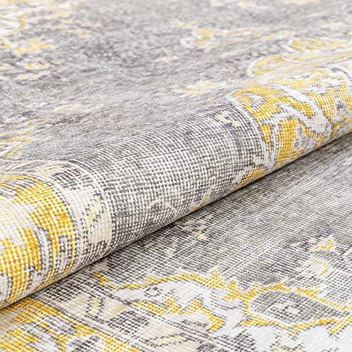 "Well Woven Areva Machine Washable Yellow Vintage Oriental Medallion Flat Pile Runner Rug 3x10 (2'5"" x 9'10"" Runner)"