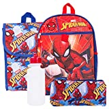 Marvel Spiderman Backpack and Lunch Box Set ~ 5-Pc Spider-Man School Supplies Set with Backpack, Lunch Bag, and More