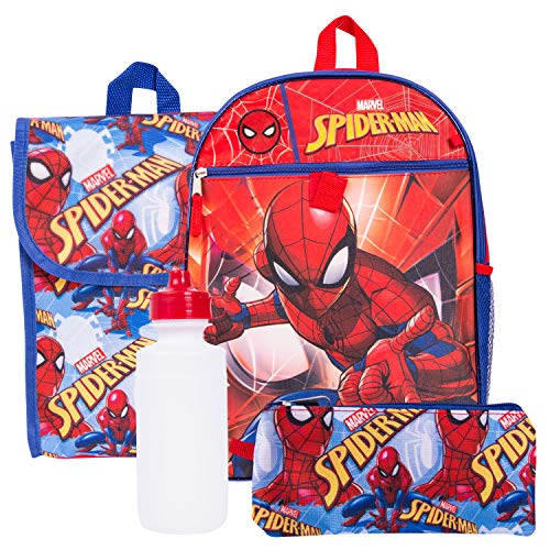 Marvel Spiderman Backpack Combo Set - Marvels Spiderman 5 Piece Backpack School Set (Red)