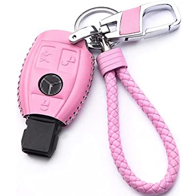 WAFERN Genuine Leather Key Case Cover Shell for Mercedes-Benz 3-Button Keyless Entry Remote Control Smart Car Key Protection Fob Skin Cover Etui with Braided Key Chain & Key Rings in Pink: Home & Kitchen [5Bkhe0802461]
