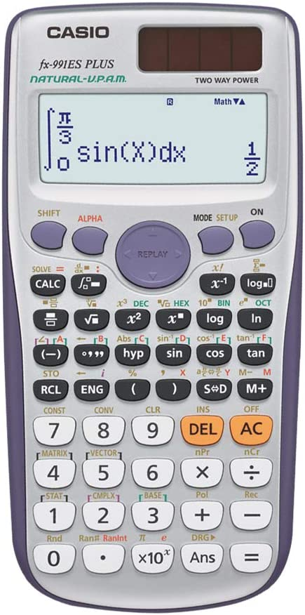 Casio FX-991ES PLUS - Calculadora científica (417 funciones, 15 + 10 + 2 dígitos, pantalla Natural), color gris
