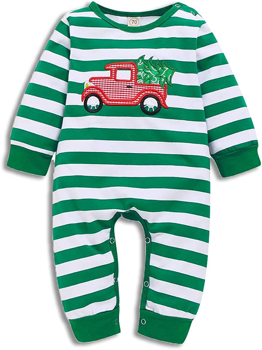 Ebobo Newborn Baby Boys Girls Christmas Outfits Long Sleeve One-Piece Romper Santa Claus Striped Jumpsuit Fall Winter Clothes