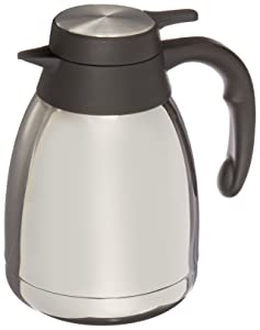 Genuine Joe GJO11952 Stainless Steel, Mirror-Finish Classic Vacuum-Insulated Carafe with Thumb Lever Lid, 1.2L Capacity, Steel/Gray