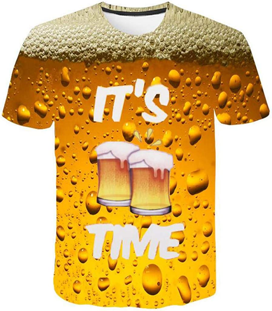 Winsummer Mens 3D Creative Print Funny T-Shirts Casual Beer Graphic Tee Shirts Cool Summer T Shirt