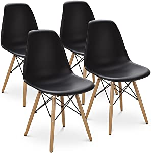 Giantex DSW Chair, Pre Assembled Mid Century Style Wood Dining Chairs, Modern DSW Chair, Shell Lounge Plastic Side Chair for Kitchen, Dining, Bedroom, Living Room, Set of 4 (4PCS, Black)