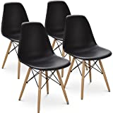 Giantex Set of 4 Mid Century Modern Style DSW Dining Chair Side Wood Assembled Legs for Kitchen, Dining, Bedroom, Living Room (Black)
