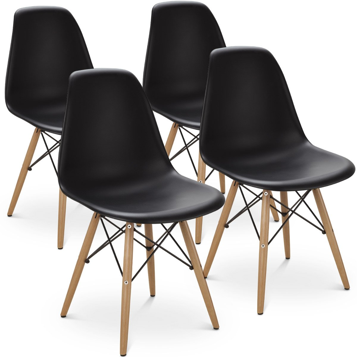 Giantex Set of 4 Mid Century Modern Style DSW Dining Chair Side Wood Assembled Legs for Kitchen, Dining, Bedroom, Living Room (4PCS, Black) by Giantex