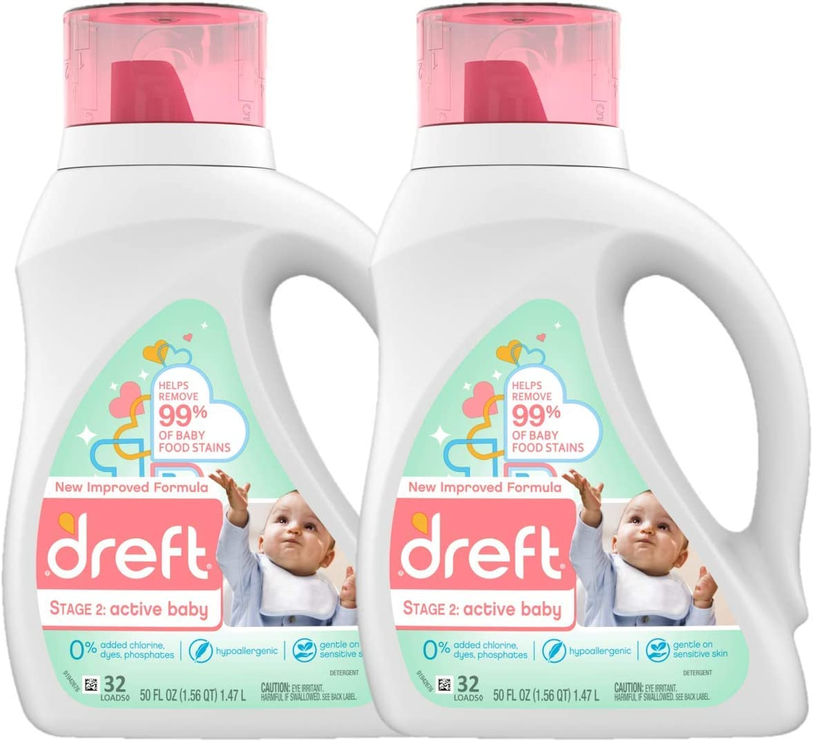 Dreft Stage 2: Active Hypoallergenic Liquid Baby Laundry Detergent for Baby, Newborn, or Infant, 50 Ounces(32 Loads), 2 Count (Packaging May Vary): Health & Personal Care