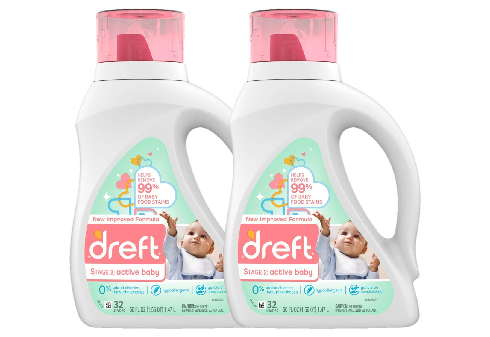 Dreft Stage 2: Baby Liquid Laundry Detergent Soap, Natural for Newborn, or Infant, HE, 64 Total Loads (Pack of 2) - Unscented and Hypoallergenic for Sensitive Skin