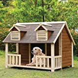 dog house ac - 1PerfectChoice Rufus Large Log Cabin Dog House Outdoor Pet Shelter Cage Kennel Porch Cream Oak