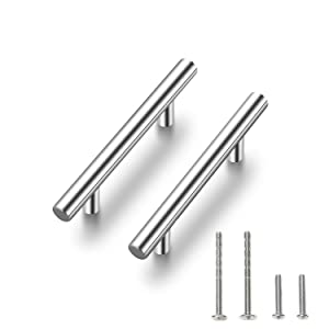 "Ravinte 30 Pack 5'' Cabinet Pulls Brushed Nickel Stainless Steel Kitchen Drawer Pulls Cabinet Handles 3"" Hole Center"