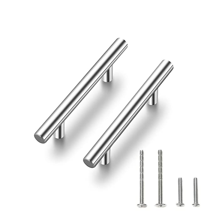"Cabinet Pulls Brushed Nickel Stainless Steel Kitchen Cupboard Handles Cabinet Handles 5""Length, 3"" Hole Center 30-Pack"