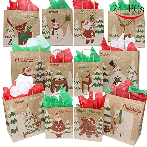 24 Christmas Kraft Gift Bags with Assorted Christmas Prints for Kraft Holiday Gift Bags, Christmas Goody Bags, Xmas Gift Bags, School Classrooms and Party Favors by Joiedomi Holiday Treats Gift