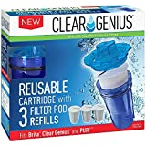 Clear Genius Reusable Cartridge With Filterpod Refill SU-31, Includes Reusable Filter Cartridge and 3 Filter Pod Refills, Lasts for 2 months, Blue, Fits Brita & Pur