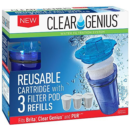 Clear Free Disposable Cartridges (Clear Genius Reusable Cartridge With Filterpod Refill SU-31, Includes Reusable Filter Cartridge and 3 Filter Pod Refills, Lasts for 2 months, Blue, Fits Brita & Pur)