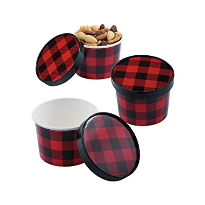 Buffalo Plaid Snack Bowls With lids (set of 12) Party Supplies: Toys & Games