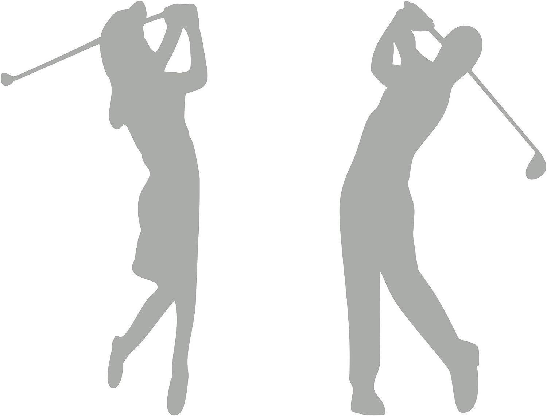 Golferin Und Golfer Aufkleber Autoaufkleber 2 Stück Silber Auto