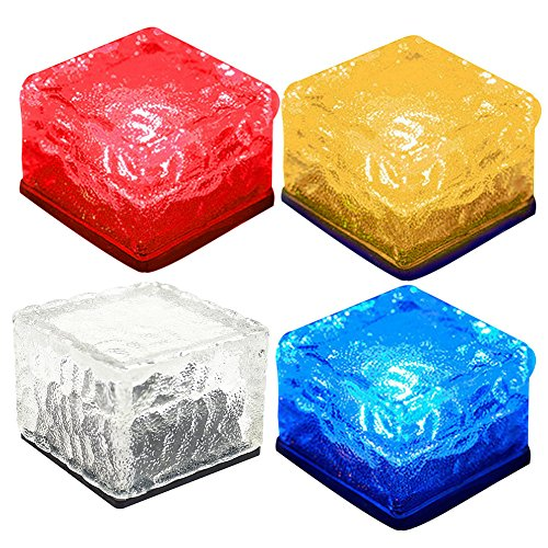 Gorge-buy Waterproof Buried Ground Lamp Garden Landscape Solar Powered Ice Brick Round Square Glass Brick LED Lamp Outdoor Decorative