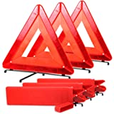 Bigetaige Warning Triangle DOT Approved 3PK, Reflective Warning Road Safety Triangle Kit