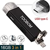16GB Mini USB Voice Recorder for Lectures,TOOBOM USB,USB-C and Micro USB 3 in 1 Digital Audio Recorder Mac Compatible and Android OTG Metal Body Small USB Dictaphone Recording Device,USB Rechargeable