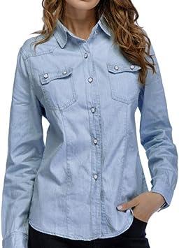 LuckyGirls ❤️• •❤️ Mujer Camisetas Manga Larga Camisa Vaquera Bolsillo Tops Blusa Sudaderas Camisas (M, Azul): Amazon.es: Deportes y aire libre