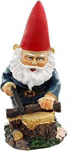 NW Wholesaler Fairy Garden Working Gnome Sawing Wood - Miniature Gnome Figurine for Fairy Gardens or Indoor and Outdoor Garden Decor