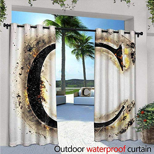 Letter C Exterior/Outside Curtains Letter C Flaming Backdrop Combusted Alphabet Symbol Paper Effect Writing for Patio Light Block Heat Out Water Proof Drape W108 x L96 Tan Black Yellow